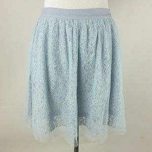 alya tulle skirt mini circle lace light blue M